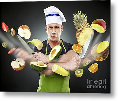 Fast Cook Slicing Vegetables In Mid-air Metal Print by Catalin Petolea