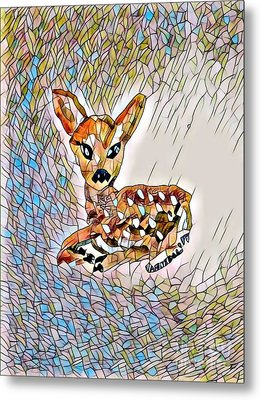 Fawn In The Meadow - Stained Glass Metal Print