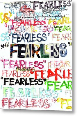 Metal Print featuring the mixed media Fearless by Carolyn Weltman
