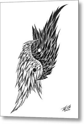 Feathered Ying Yang  Metal Print by Peter Piatt