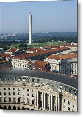 Federal Buildings - The Washington Monument And The National Mall - Washington Dc Metal Print by Brendan Reals
