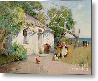 Feeding The Hens Metal Print by Arthur Claude Strachan