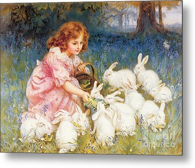 Feeding The Rabbits Metal Print