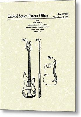 Fender Bass Guitar 1960 Patent Art Metal Print by Prior Art Design