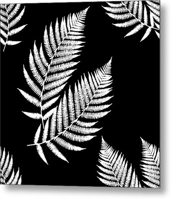 Metal Print featuring the mixed media Fern Pattern Black And White by Christina Rollo