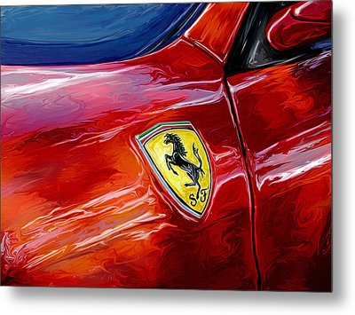 Ferrari Badge Metal Print by David Kyte