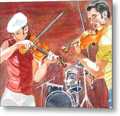 Metal Print featuring the painting Fiddles by Karen Ilari