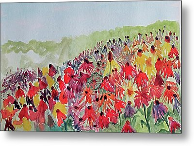 Metal Print featuring the painting Field Of Flowers by Sandy McIntire