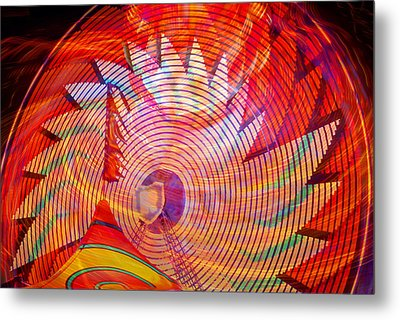 Metal Print featuring the photograph Fiery Ferris Wheel by David Lee Thompson