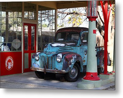Filling Up The Old Ford Jalopy At The Associated Gasoline Station . Nostalgia . 7d13021 Metal Print by Wingsdomain Art and Photography