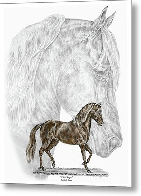 Metal Print featuring the drawing Fine Steps - Paso Fino Horse Print Color Tinted by Kelli Swan