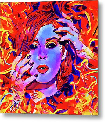 Fire Demon Woman Abstract Fantasy Dark Goth Art Metal Print