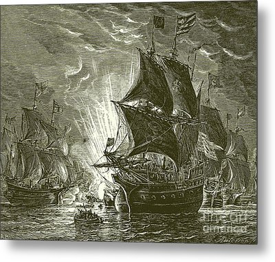 Fire Ships Attacking The Spanish Armada Metal Print by English School