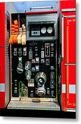 Fire Truck Control Panel Metal Print by Dave Mills