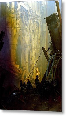 Firemen And Rescue Workers Conduct Metal Print by Everett