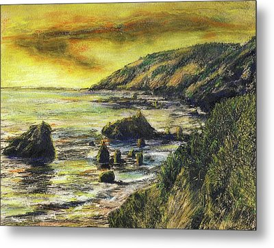 Fires Over Big Sur Metal Print by Randy Sprout