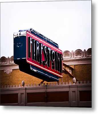 Firestone Horizontal Neon Metal Print by David Waldo