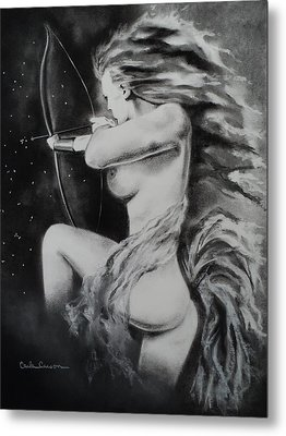 Firey Sagittarius Shooting Stars Metal Print by Carla Carson