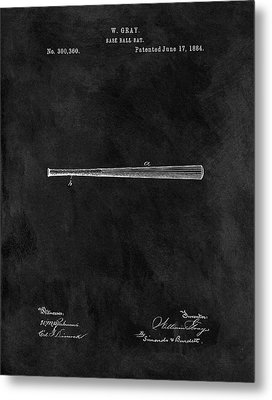 First Baseball Bat Patent Metal Print
