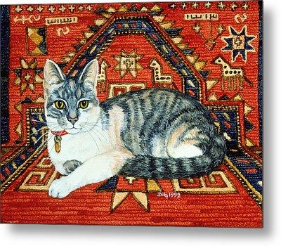First Carpet Cat Patch Metal Print