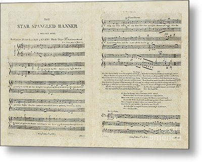 First Edition Of The Sheet Music For The American National Anthem Metal Print
