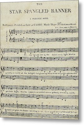 First Edition Of The Sheet Music For The Star Spangled Banner Metal Print