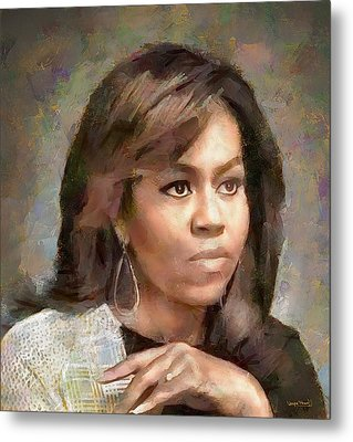 First Lady Michelle Obama Metal Print by Wayne Pascall