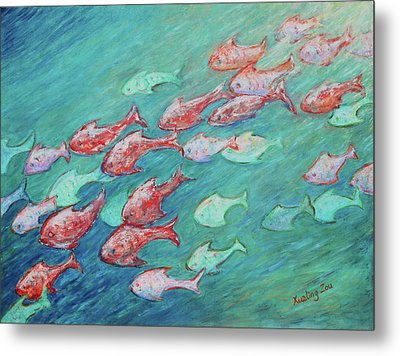 Metal Print featuring the painting Fish In Abundance by Xueling Zou