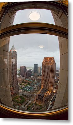 Fisheye View Of Cleveland From Terminal Tower Observation Deck Metal Print by Kathleen Nelson