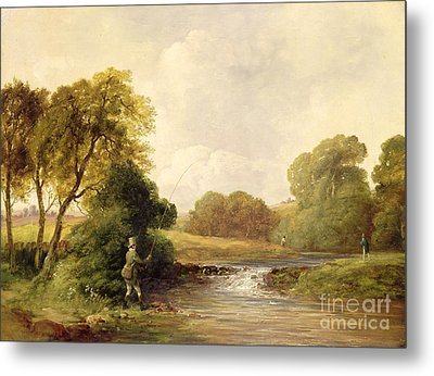 Fishing - Playing A Fish Metal Print by William E Jones