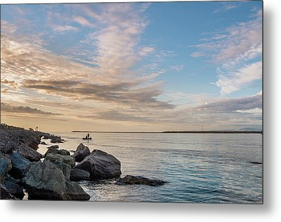Fishing Along The South Jetty Metal Print by Greg Nyquist