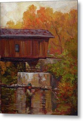 Fishing At Creek Road Bridge Metal Print by Nora Sallows