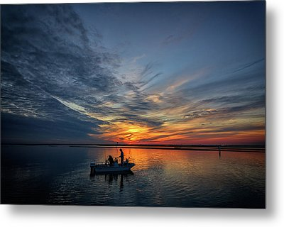 Fishing At Sunset Metal Print by Rick Berk