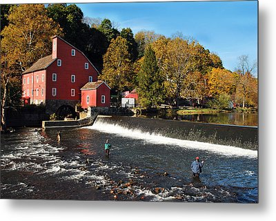 Fishing At The Old Mill Metal Print