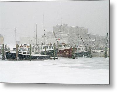 Fishing Boats During Winter Storm Sandwich Cape Cod Metal Print by Matt Suess