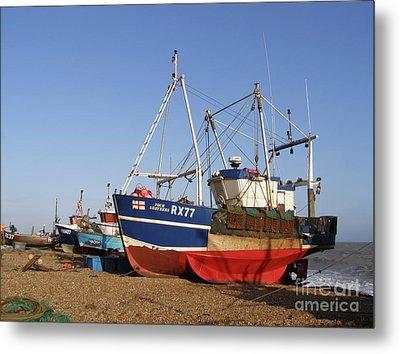 Fishing Boats On Hastings Stade Metal Print by Terri Waters
