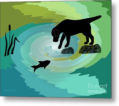 Fishing Labrador Dog Metal Print