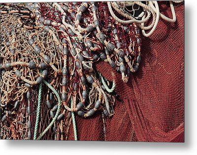Fishing Nets And Led Weights Metal Print by Carlos Caetano