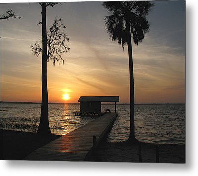 Metal Print featuring the photograph Fishing Pier At Dusk by Peg Urban
