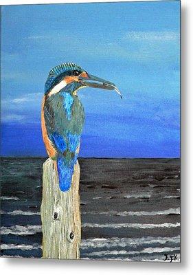 Fishing Post Kingfisher Of Eftalou. Metal Print by Eric Kempson