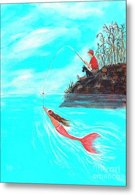 Metal Print featuring the painting Fishing Surprise by Leslie Allen