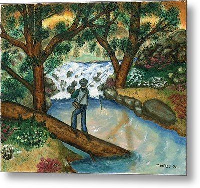 Fishing The Sunny River Metal Print by Tanna Lee M Wells