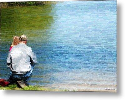 Fishing With Grandpa Metal Print by Lila Fisher-Wenzel