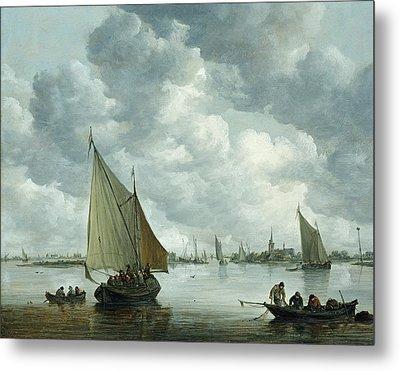 Fishingboat In An Estuary Metal Print by Jan Josephsz van Goyen