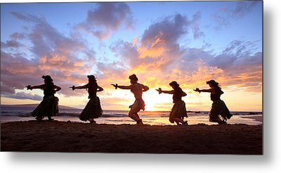 Five Hula Dancers At Sunset Metal Print by David Olsen