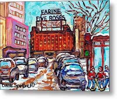 Five Roses Sign Montreal Landmark Marquee Street Hockey Painting Canadian Artist Carole Spandau      Metal Print by Carole Spandau