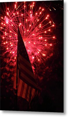 Flag And Fireworks Metal Print by Alan Look