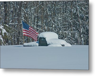 Metal Print featuring the photograph Flag In The Snow by David Bishop