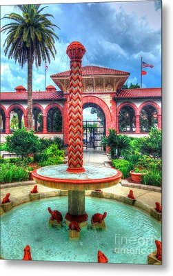 Flagler College Fountain Metal Print