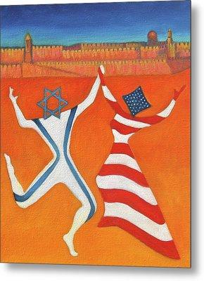 Flags Dancing With Israeli Man And American Woman       Metal Print by Jane  Simonson